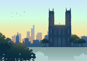 Silhouette illustration of Montreal (Canada) skyline