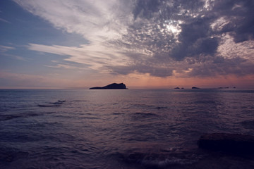 balearic island sunrise at sea view sunset ibiza