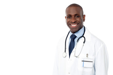Smiling african male doctor posing
