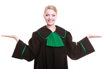 Woman lawyer in classic polish gown with hands copy space