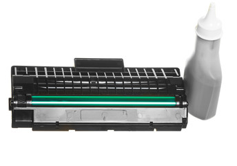 cartridge toner bottle isolated. Technology equipment.