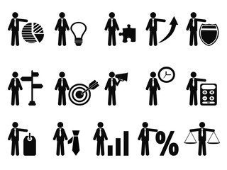 stick figure with business icons