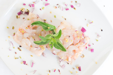 Sicilian Appetizer With Marinated Prawns Onion and Pistachio
