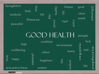 Good Health Word Cloud Concept on a Blackboard