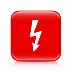 Red lightning arrow button, icon