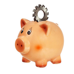 Piggybank with circular cutter on back