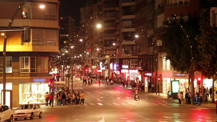 Rambla Mendes Nunez  in night. Alicante, Spain