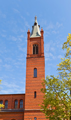 Belfry of Holy Trinity church (1886) in Kwidzyn town, Poland