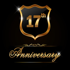 17 year anniversary, 17th anniversary decorative golden emblem