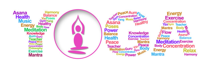 Yoga Wordcloud silhouette White