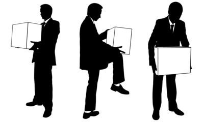 businessmen with boxes