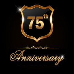 75 year anniversary, 75th anniversary decorative golden emblem