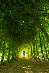 Man in a green tunnel