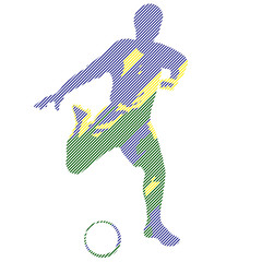 Vector abstract football soccer player kick the ball