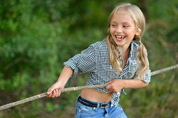 portrait of a girl on a rope competitions