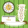 Stack of cups with tea box on doily, and clock