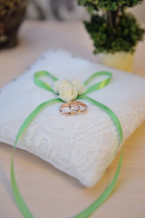 Wedding rings on a cushion with green bow