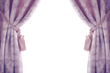 Curtains isolated on white background, purple