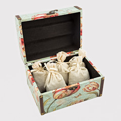 Gift box with textile pouches