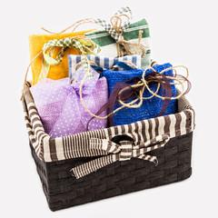 Decorative textile sachet pouches
