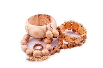 wooden bracelet, earrings, ring