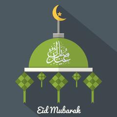Eid Mubarak Flat Design Card