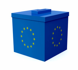 ballot box colored with european flag