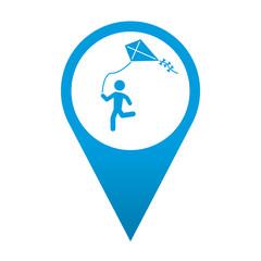 Icono localizacion simbolo niño volando cometa