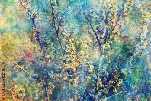 Aluminium Lilac Blooming twigs and grunge messy watercolor splatter