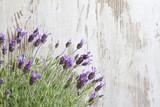 Fototapety Lavender flowers on vintage wooden boards background