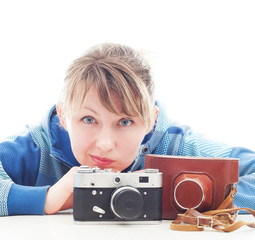 photographer girl with retro camera