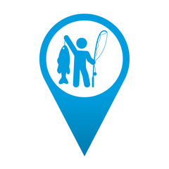 Icono localizacion simbolo pescador con trofeo
