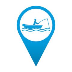 Icono localizacion simbolo pescador en barca
