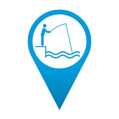 Icono localizacion simbolo pescador en muelle