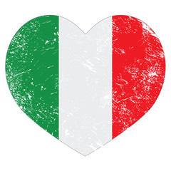 Italy heart retro flag