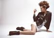 Fashion Rocker Style Model Girl Portrait.