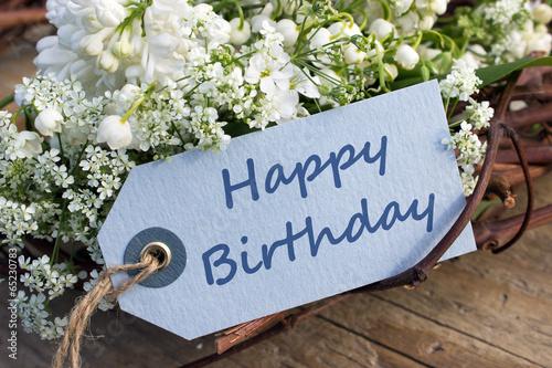 Foto op Canvas Lilac Happy Birthday