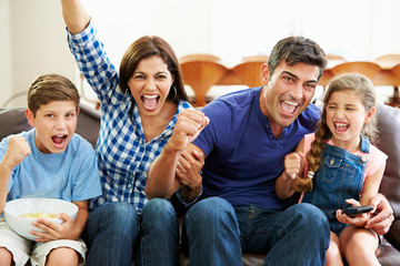 Family Watching Soccer Celebrating Goal