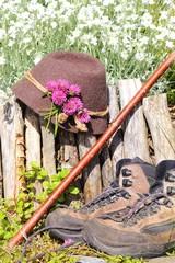 Hut,Schuhe und stock