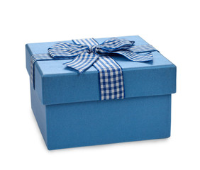 Blue box decorated with ribbon