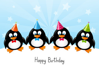 Funny penguins with party hats