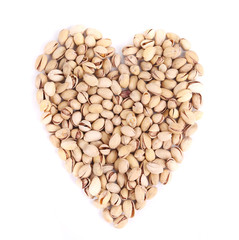 Heart shape of fresh pistachios.
