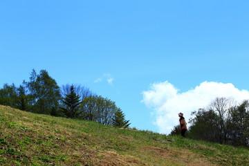丘を歩く女性