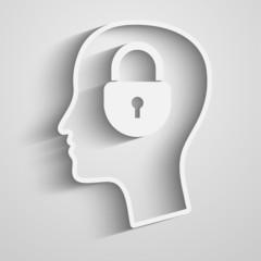 Head with padlock