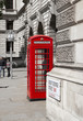 Red telephone box in the city of Westmunster, London