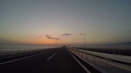 Twilight view from a bridge above the Tokyo bay.