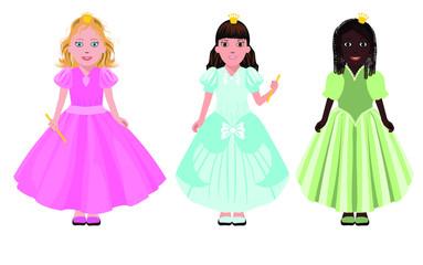 Three little girls or princesses, vector illustration
