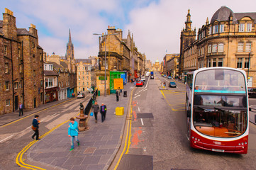 street view of Edinburgh in Scotland, UK