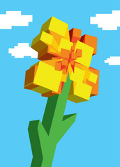 Digital square 8 bit flower over the sky