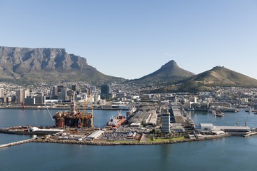 Cape Town Harbour - showing Table Mountain & Signal Hill